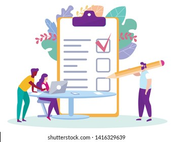Man Sign Distance Learning Contract. Distance Learning. E-Learning. Woman with Laptop. White Background. Sit at Table. Vector Illustration. Sign Contract. E-learning Around World. Student in Classroom