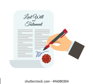 The man signed his will. flat vector illustration isolated on white background