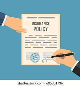 Man signs insurance policy. Insurance agent holds contract in hand, other hand signs contract with pen. Flat style icons. Isolated vector illustration