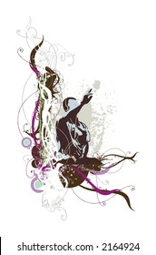 man silhouete listen music with headphones on abstract floral&grunge background
