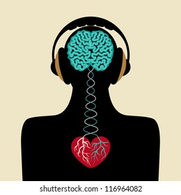 man silhouette with brain and heart