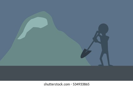 Man Silhouette Digging Snow Vector