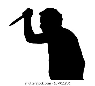 Man Silhouette European Stabbing with a Knife