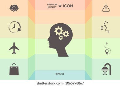 Man silhouette with gears icon