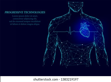 Man silhouette healthy heart beats 3d medicine model low poly. Triangle connected dots glow point blue background. Pulse internal body modern progressive technology render vector illustration.