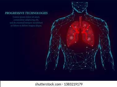 Man silhouette healthy lungs 3d medicine model low poly.Human lungs have veins and various nerves. Treatment of lung cancer and inflammation of the human lung.