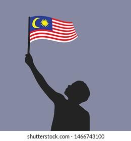 man silhouette holding Malaysia flag. Independence Day (Merdeka) theme flat vector illustration