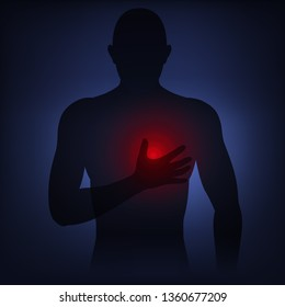 Man silhouette holds hand to pain point on chest, early symptoms of heart attack, health problems.  Vector illustration neon light style, low poly with dark background.