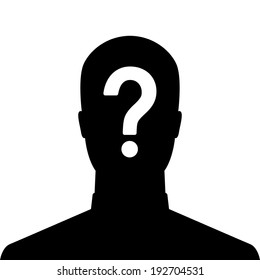 Man silhouette icon with question mark sign - anonymous & suspect concept