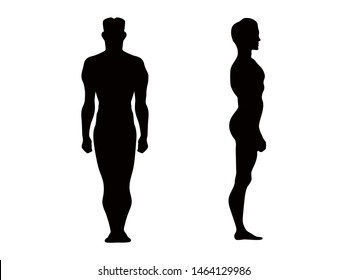 Man silhouette isolated on white background. Vector clip art