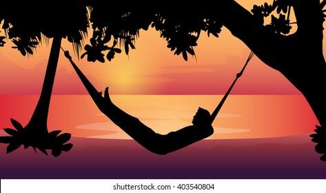 Man Silhouette Lying In Hammock Beach Vacation Flat Vector Illustration
