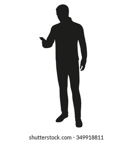 Man silhouette with mobile phone, writing sms