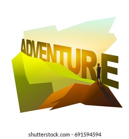 Man silhouette on mountain with adventure text, design on white space, vector
