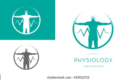 A MAN SILHOUETTE WITH OPEN ARMS INCORPORATED WITH A HEARTBEAT SYMBOL INSIDE A CIRCLE, VECTOR ICON / LOGO