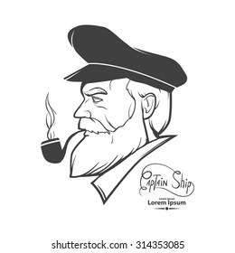 man silhouette portrait character, captain, simple illustration