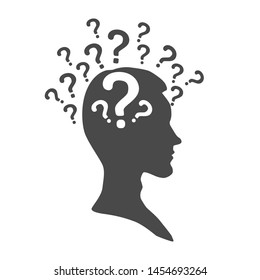 man silhouette with question mark signs inside the head, isolated on white, vector illustration