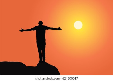 A Man silhouette raising hands at sunset