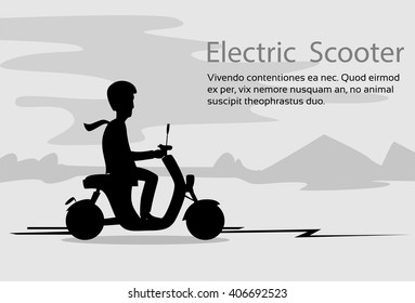 Man Silhouette Ride Moped Electric Scooter, Motorcycle Wearing Helmet. Nature Black Background .Vector Illustration
