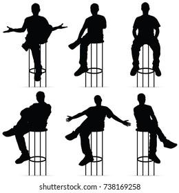 man silhouette sitting on bar stools set art illustration