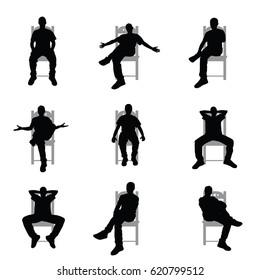 man silhouette sitting on grey chair set art illustration