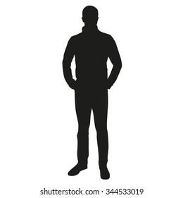 Man silhouette standing. Vector figure