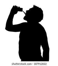 Man Silhouette Stubby European Drinking from a Can