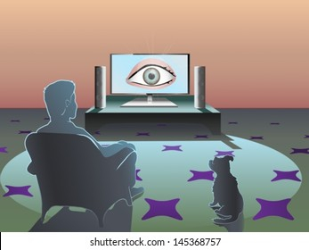 man silhouette is watching television which is showing an eye that spies on him