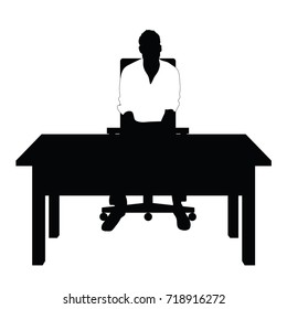 man silhouette in white t shirt sitting on chair art illustration