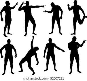 Man silhouettes in different poses