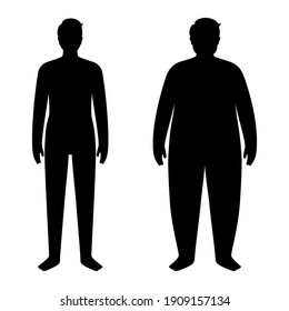 Man silhouettes with obese and slim fit. Male persons with normal weight and overweight. BMI ranges. Adult people with different fat levels. Result of diet and healthy lifestyle vector illustration.