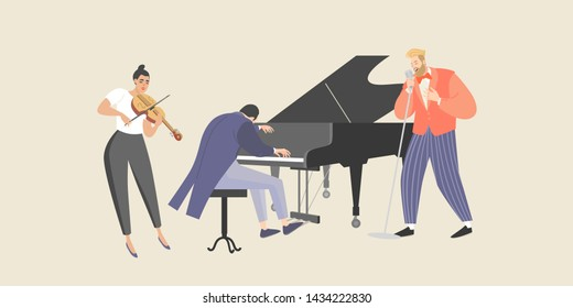 A man sings to the accompaniment of a piano and violin. Isolated characters of musicians for design banners or posters