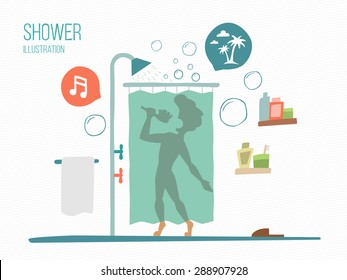 man sings in a shower