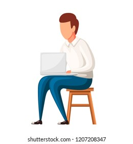 Man sit on chair with laptop. No face character design. Flat vector illustration isolated on white background.