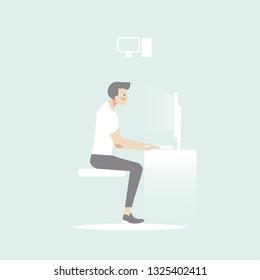 man sitdown use computer vector icon