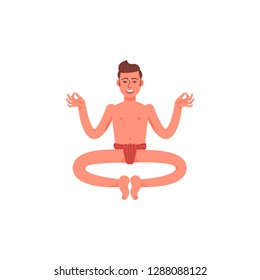 A man sits in a lotus position in a loincloth. A young man sits in a pose of meditation. Vector illustration.