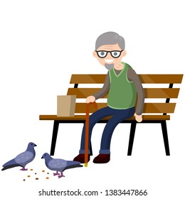 Man sits on bench and feeds pigeons. Element of Park and city. Grandfather in pew. Senior with cane. Rest of pensioner. Poultry and bread crumbs. Cartoon flat illustration