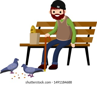 Man sits on bench and feeds pigeons. Element of Park and city. Senior with cane. Rest of pensioner. Poultry and bread crumbs. Cartoon flat illustration. Grandfather in pew