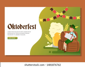 A man sitting in the barrels playing accordion to celebrate Oktoberfest