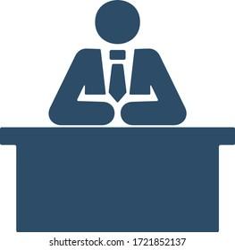 Man sitting behind the desk. Businessman or working man sign.