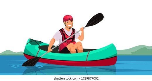 Man sitting in canoe and holding paddle. Cheerful guy paddling kayak through river or lake. Canoeing, Tourism, kayaking, camping, active lifestyle, vacation, travel and hobby concept. Vector