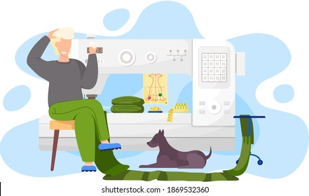 The man is sitting with cards in his hands. The designer is planning a model of clothes. The guy thinks over the next move. A seamstress works with sewing machine. Male character with dog in studio
