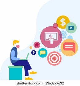 Man Sitting Down with Laptop on his Lap. Search Engine Optimization Icons on the Blank Space. Creative Background Idea for Web Content Development Presentation and Technical Person.