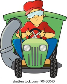 A man is sitting down on a green riding lawn mower with a bag attachment wearing safety goggles mowing the lawn