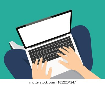Man sitting with laptop on the floor and working, hands typing a message in social networks. Vector illustration top view of people work or relax at home using computer