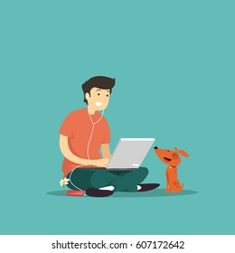 man sitting with laptop. Vector illustration.