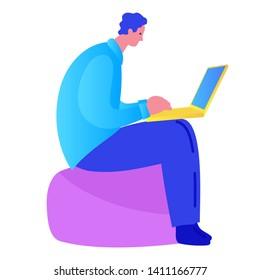 Man sitting with laptop. Vector isolated illustration cartoon flat with people. Hero image for website.