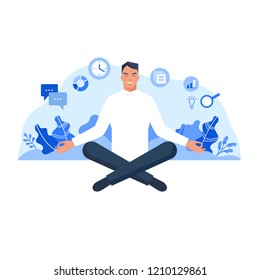 Man sitting in lotus pose and meditating surrounded by plants and business icons. Flat style vector illustration isolated on white background