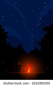 man sitting next to campfire in forest at night with stars in the sky
