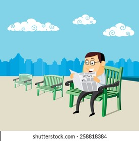 Man sitting on a bench and reading a newspaper on the square. Simple cartoon vector illustration.