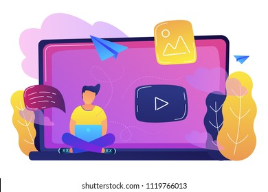 A man sitting on a big laptop with play button as online network, blog, web media, social networking, media content and online gallery concept, violet palette. Vector illustration on white background.